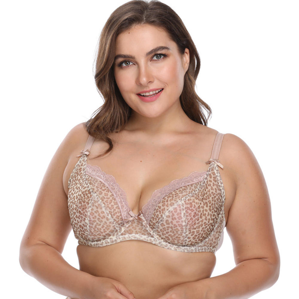 Unlined Leopard Print Breathable Plus Size Bra