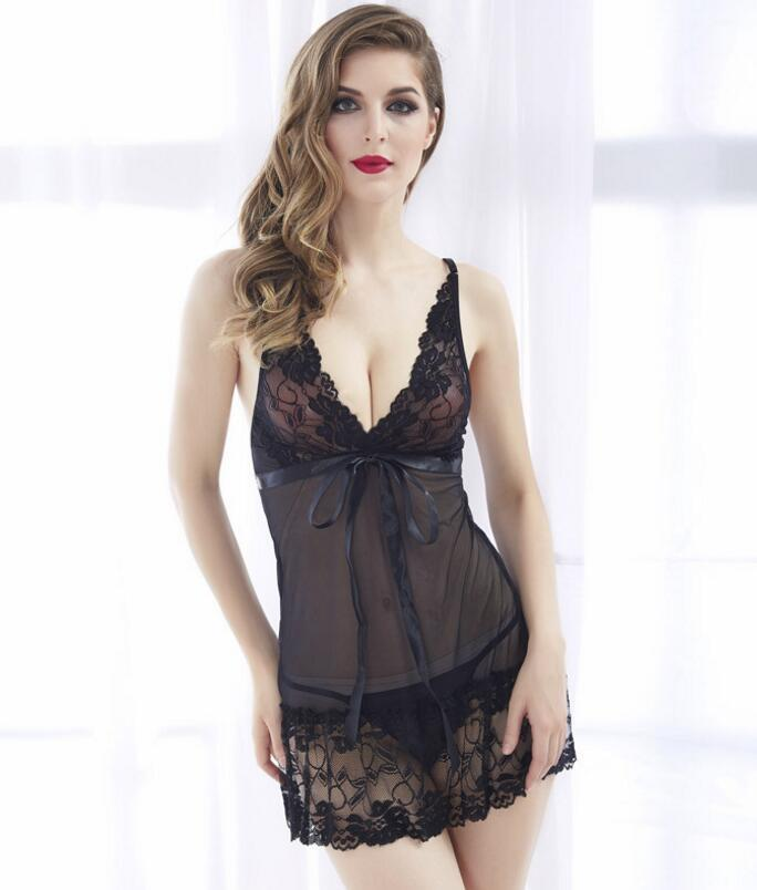 Ladies transparent sexy night dress sex