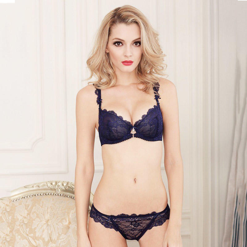 Women's Mesh Embroidered Floral Lace Bra Panty Set  FPY323