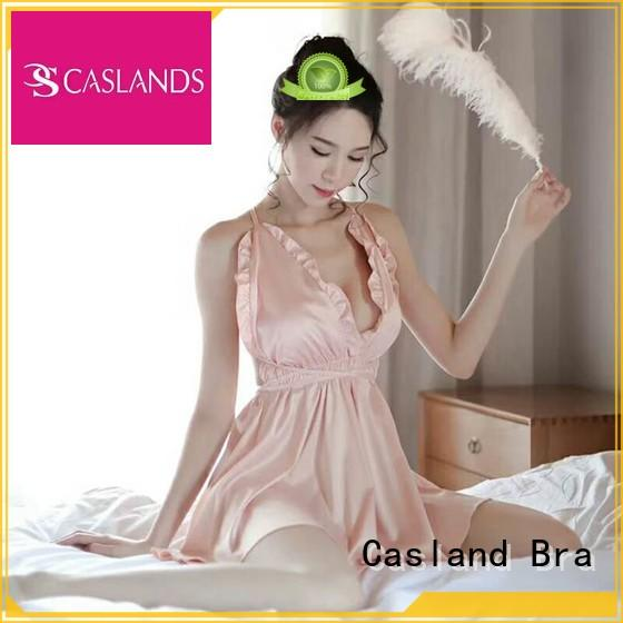 Casland Brand lace good quality womens silk nighties optional color